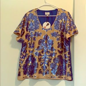 Tracy Reese blue sequined top